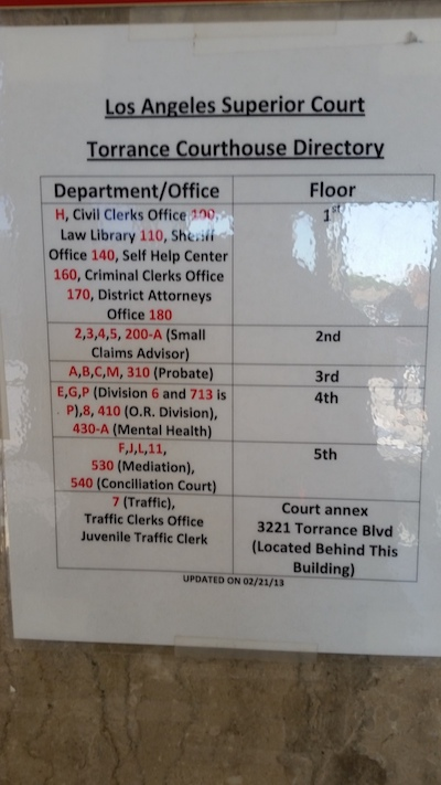 Torrance Courthouse Directory